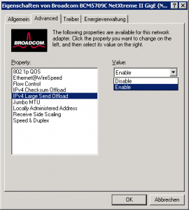 TCP Offload deaktivieren