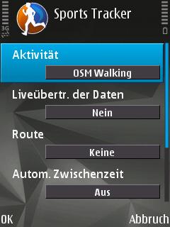 Nokia Sports Tracker - Neue Aktivität anlegen