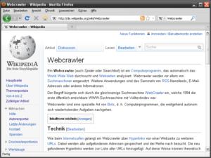 Wikipedia - Artikel Webcrawler